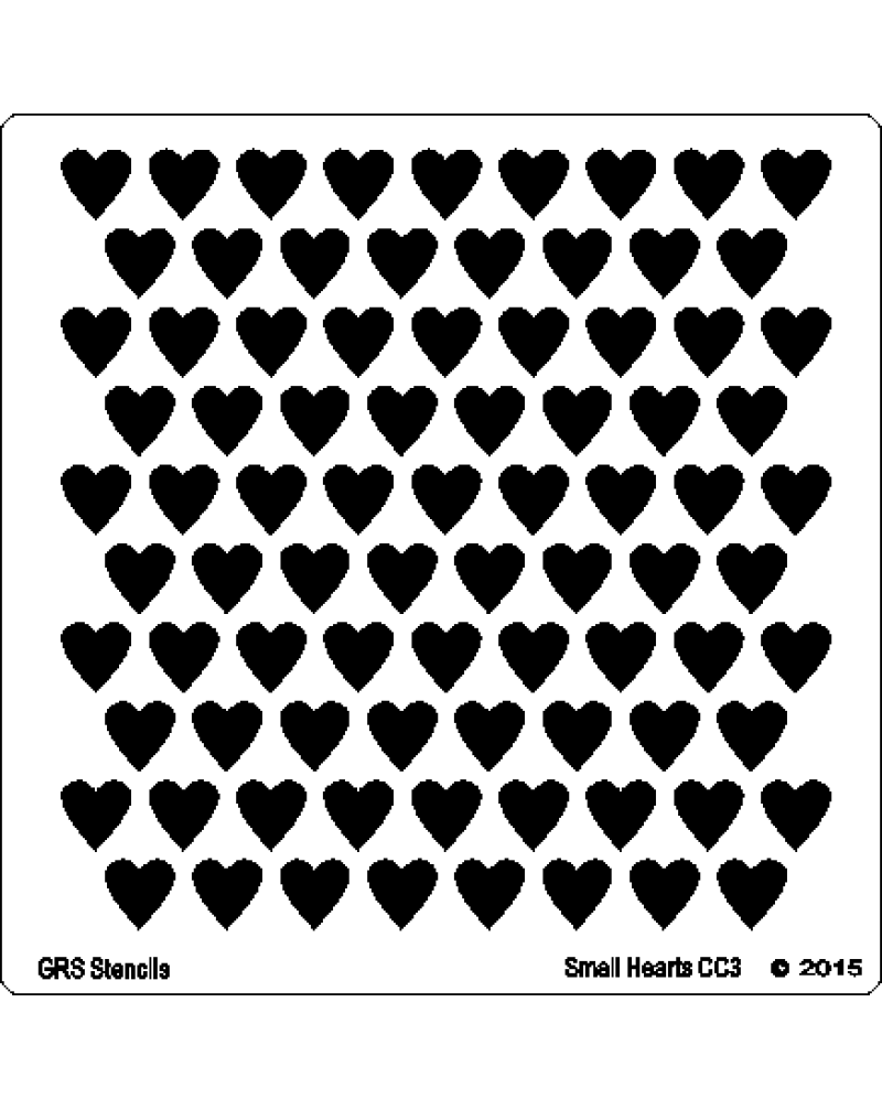 CC3 Small Hearts Stencil 6 x 6""