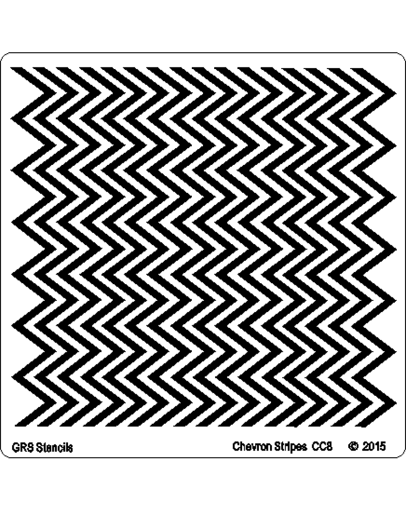 CC8 Chevron Stripes Stencil 6 x 6""