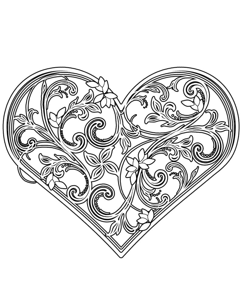 WW1051 Ornate Etched Heart